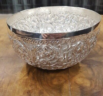 Foreign Silver Embossed Bird Design Bowl