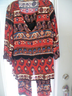 Vintage Woman's 2 Pc Outfit From Indonisia Size L By Notations Hand Wash Rayon