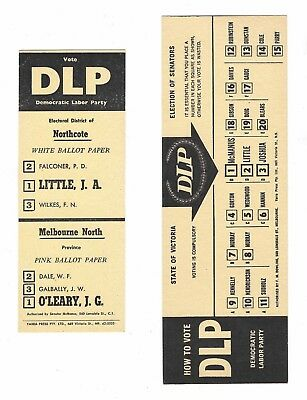 Two DLP How To Vote cards 1960s Victoria & Federal Elections