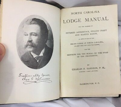1892 North Carolina Lodge Manual - Masons - by Charles Bahnson Farmington NC