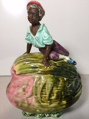 Antique Black Americana Majolica Boy On Watermelon Tobbaco Jar/humidor