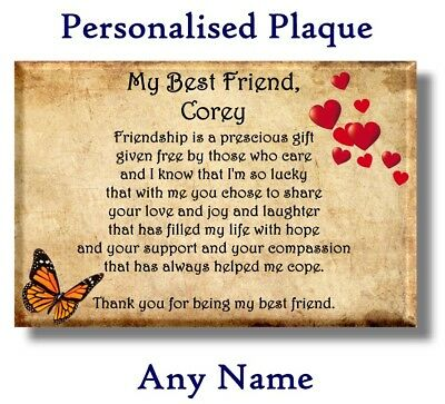 Personalised Best Friend Friendship Plaque - (present gift thank you sign love)
