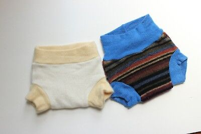 Two Diaper Soaker Covers Felted Wool, Newborn and Size Small - 2-8M, 10-15lbs