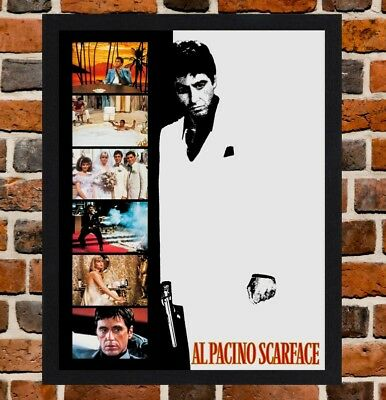 FRAMED SCARFACE AL Pacino Film Poster A4 / A3 Size In Black / White ...