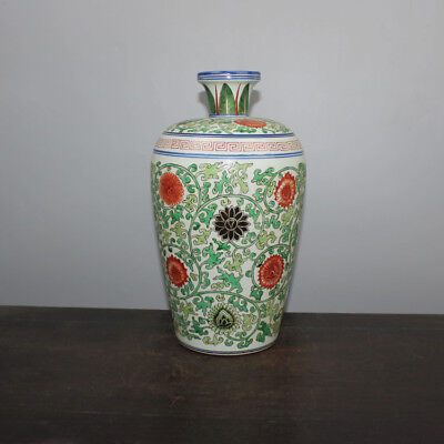Chinese Old Marked Blue White Wucai Colored Twined-Flower Pattern Porcelain Vase