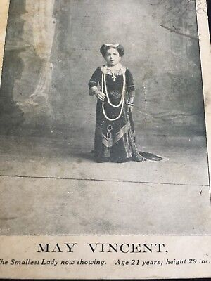 Postcard May Vincent Smallest Lady Age 21 Height 29 Inches Circus Show