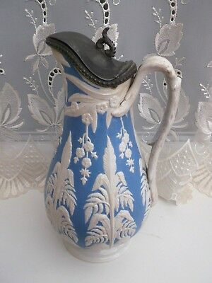 Wedgewood And Co Jug , Pewter Lid Victorian Kite Mark To Bottom