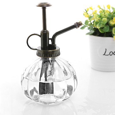 MyGift Clear Vintage Style Decorative Ribbed Glass Plant Mister Bottle with Top