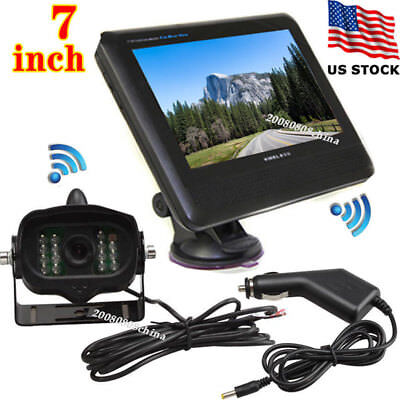 "Wireless 15 IR LEDs Backup Rear View Camera+7"" LCD Monitor for Bus Truck Trailer"