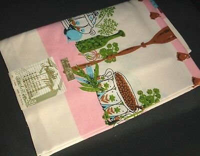 "VINTAGE TABLECLOTH- 52"" x 70""-HAND PRINTED-FASHION MANOR-NEVER USED-W/LABEL-EXC!"
