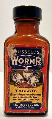 Vintage Russell's Worm Tablets For Chickens Bottle Kansas City Mo. Am4358