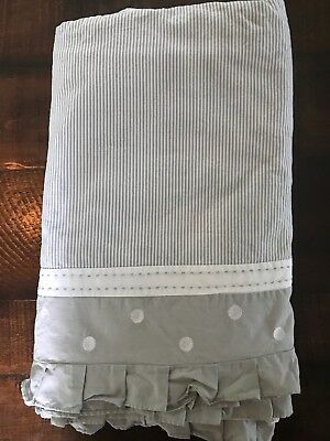 Pottery Barn Kids Crib Skirt Grey And White Polka Dots Stripes