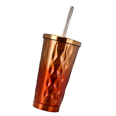 Insulated Beverage Tumbler Stainless Steel Travel Mug Coffee Cup Gift Orange