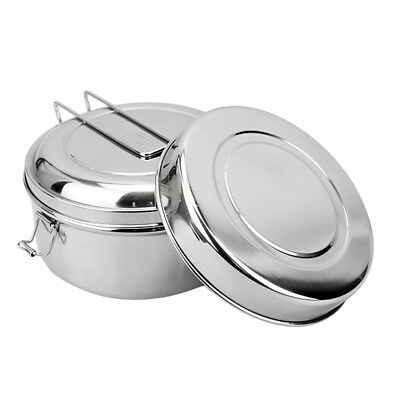 Large Portable Stainless Steel Round Lunch Box Bento Canteen School Office