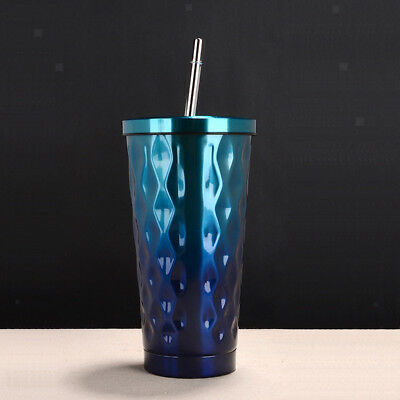 Insulated Beverage Tumbler Stainless Steel Travel Mug Coffee Cup Gift Blue