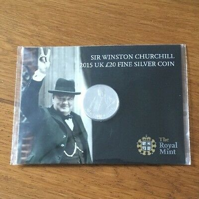 Sir Winston Churchill 2015 Uk £20 Fine Silver Coin In Packaging The Royal Mint