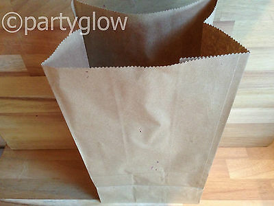 Brown Kraft Paper Bag Block Bottom Bag Picnic Deli Lunch Bags  2 Sizes Available