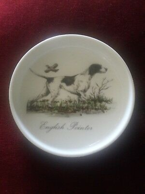 English Pointer Hi Mark Made in Japan Porcelain w-Gold Trim Ashtray-Hand Painted