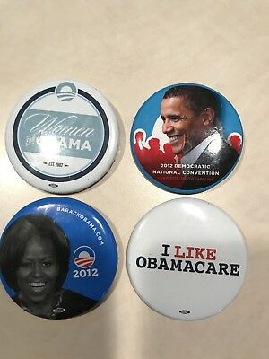 Obama Political Buttons Lot Of 4