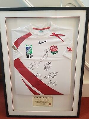 Signed Framed England Rugby Union Shirt ...signed By 7 Members Of 2007 Squad