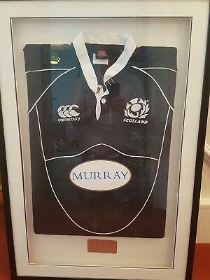 SIGNED FRAMED SCOTLAND RUGBY SHIRT with letter of Authenticity