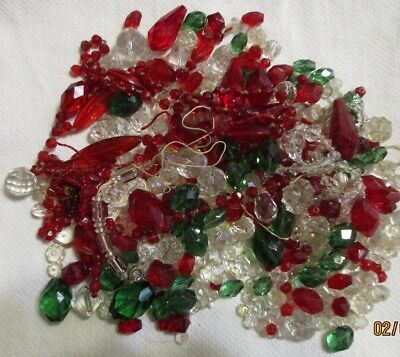 12 oz. Lot Of Vintage Antique Cut CrystalGlass Red Clear Green Beads 2F