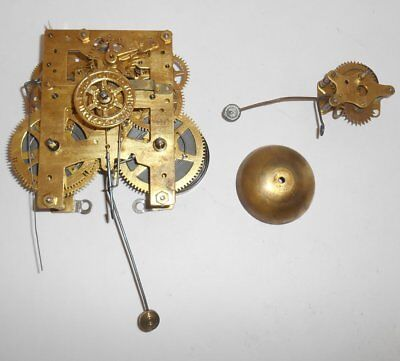 Antique 8 Day New Haven Gingerbread Clock Movement Alarm W Bell Strikes Time