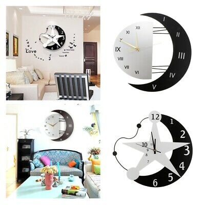 Battery Power Wall Clock Moon Star Wall Clock Time Watch for Kids Room Decor