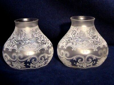 2 Etched Floral Lily Ribbon Chandelier Light Lamp Shades