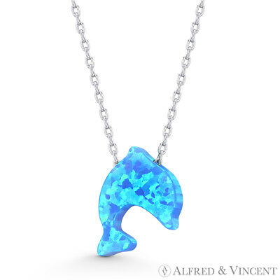 Blue Lab Opal Dolphin Sealife Animal Charm .925 Sterling Silver Necklace Pendant