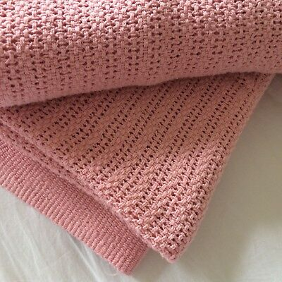 vtg? Thermal cotton blanket dusty rose woven 83x93 summer weight FARM CHIC