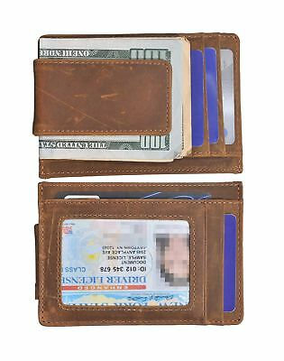 Mens Money Clip Wallet RFID Slim Wallet Genuine Leather Thin Front Pocket Wal...