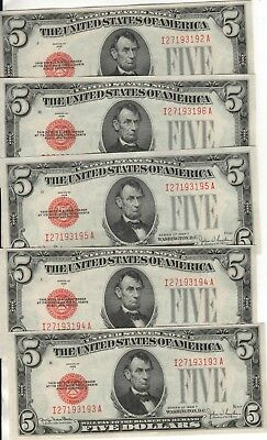 5 1928 F Consecutive Serial #s Unc/CU $5 Notes Minor Musty Smell