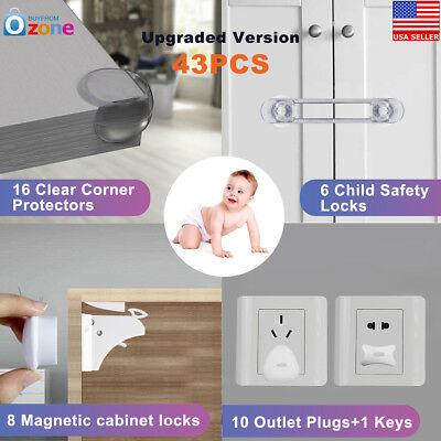 43x Magnetic Cabinet Drawer Cupboard Locks for Baby Kids Safety Child Proofing