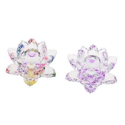 Bling Crystal Lotus Flower Model Glass Craft Tabletop Decor Purple & Multi