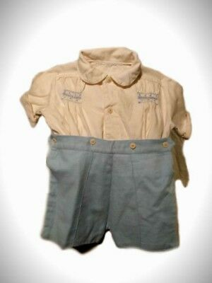 || 1940's || Childrens || Blue & White || Romper ||