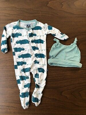 Kickee Pants Boys Oasis Hippo Footie with Hat 0-3m