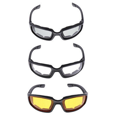 3x Wind Resistant Sunglasses Motorcycle Riding Glasses Smoke Clear Yellow
