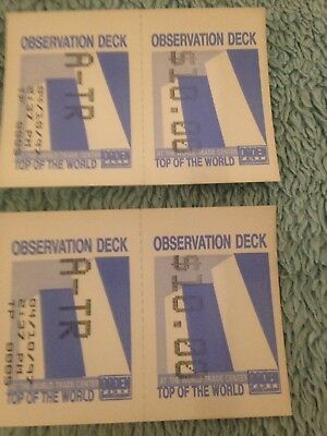 Two Tickets to WORLD TRADE CENTER observation deck (NEVER USED)- Apr 10, 1997