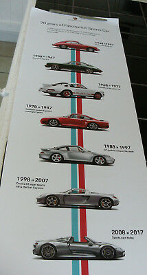 "Porsche Poster - ""70 Years Of Fascination Sports Car"" 1948-2018 New"