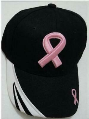 Breast Cancer Awareness Pink Ribbon Hope Believe Adjustable Ball Cap Hat  Black 308c352a7601