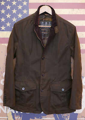£229 Mens Barbour Lutz olive green 8oz Oban waxed smart jacket S Small 36