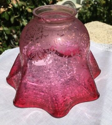 "Antique Cranberry Ruffled Glass Lamp Shade 2.25"" Fitter"