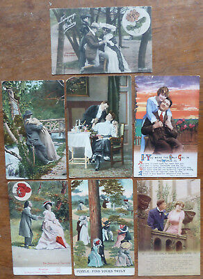 7 x Postcards,Glamour/Romance/Song Cards/Language of Flowers/Vegetables