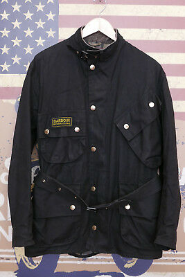 £249 Mens Barbour International A7 black waxed biker jacket 42 44 XL