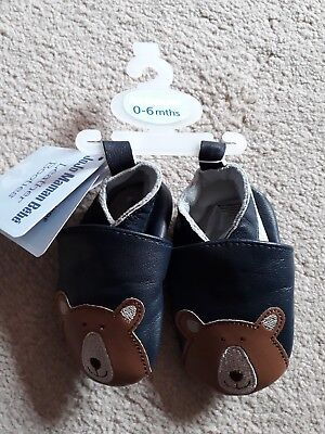 Jojo maman bebe 0-6 Months baby boy navy with bears leather booties shoes BNWT