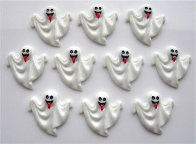 Highly In Demand 10 Halloween Ghost In White Cabochons Decoden Flatback Resin