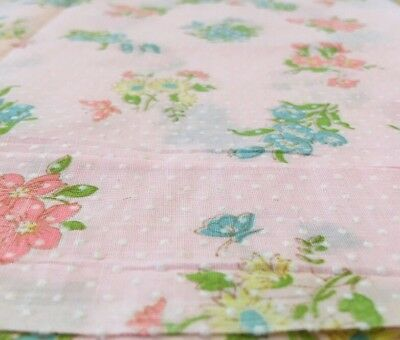 """Vintage Pink FLOCKED Fabric Multicolor flowers Dotted Swiss Remnant 11""""x68"""" Doll"""