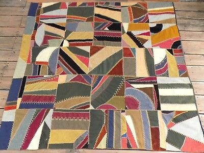 Antique Crazy Quilt 75x69 - Velvet Wool Cotton Embroidery