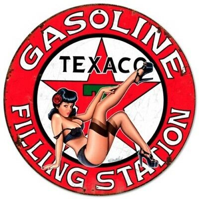 Texaco Girl Filling Station Round Metal Sign - Steve McDonald Art Pin Up Retro